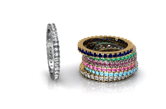 Eternity rings with stones all around